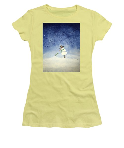 Women's T-Shirt (Junior Cut) featuring the painting Snowfall by Antonio Romero