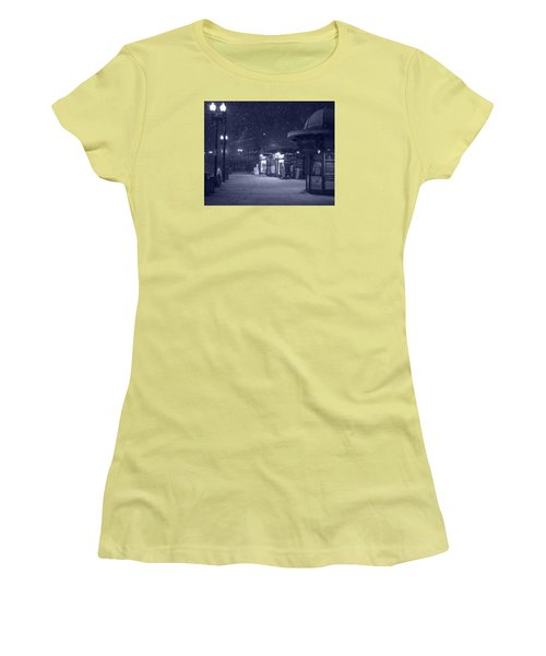 Snowfall In Harvard Square Cambridge Ma Kiosk Monochrome Blue Women's T-Shirt (Athletic Fit)