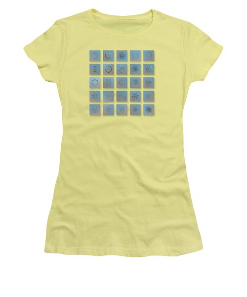 Women's T-Shirt (Athletic Fit) featuring the photograph Snowflake Collage - Season 2013 Bright Crystals by Alexey Kljatov