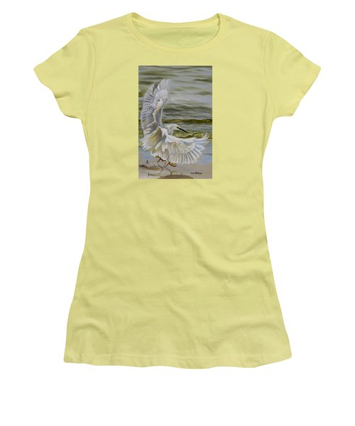 Snowy Egret Landing On The Shore Women's T-Shirt (Junior Cut) by Phyllis Beiser