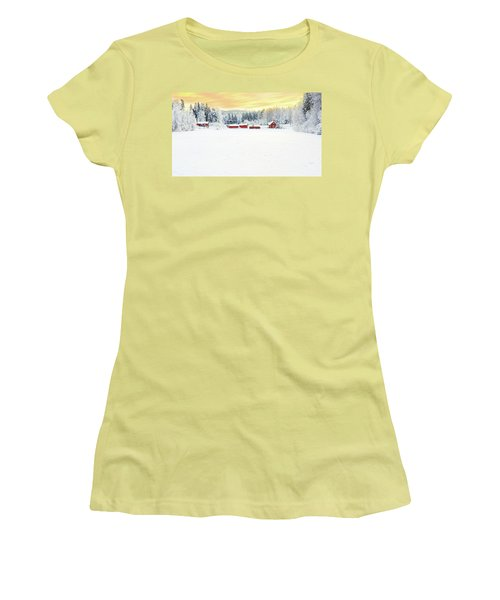 Snowy Ranch At Sunset Women's T-Shirt (Athletic Fit)