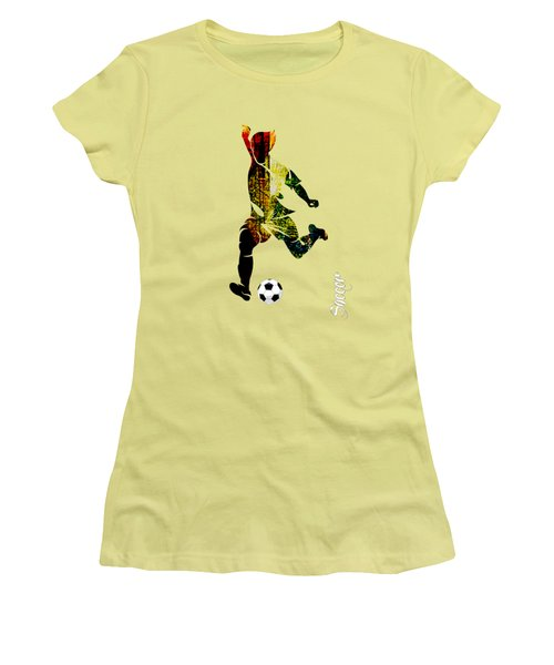 Soccer Collection Women's T-Shirt (Junior Cut) by Marvin Blaine