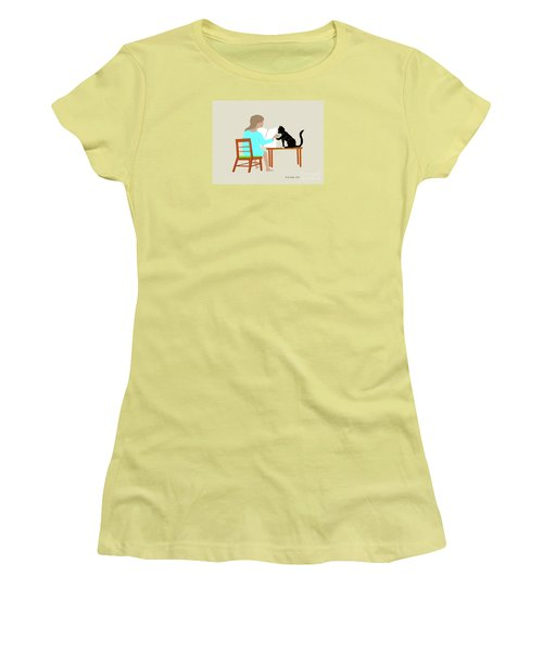 Socks Reads Sunday Paper Women's T-Shirt (Junior Cut) by Fred Jinkins