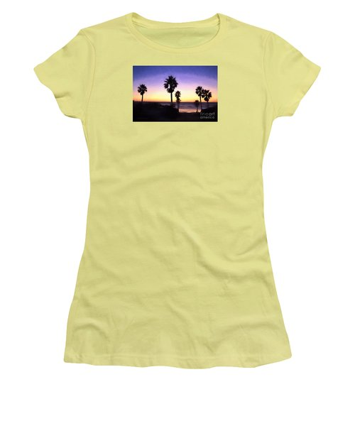 Solana Beach Sunset - Digital Painting Women's T-Shirt (Athletic Fit)