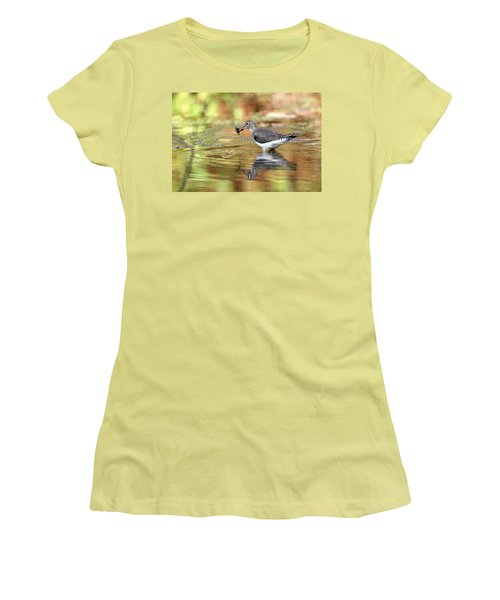 Solitary Sandpiper With Belostomatide Women's T-Shirt (Athletic Fit)