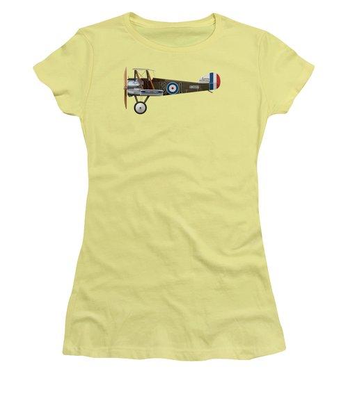 Sopwith Camel - B3889 - Side Profile View Women's T-Shirt (Junior Cut) by Ed Jackson