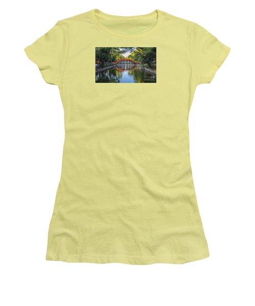 Women's T-Shirt (Junior Cut) featuring the photograph Sorihashi Bridge In Osaka by Pravine Chester