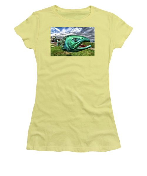 Soul Salmon In Hdr Women's T-Shirt (Athletic Fit)