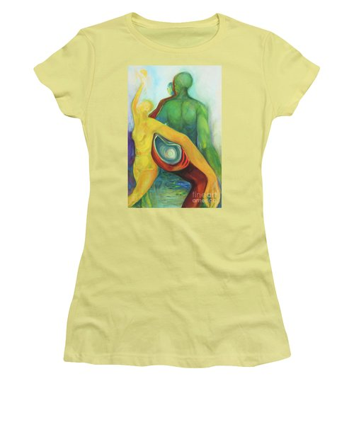 Women's T-Shirt (Junior Cut) featuring the painting Source Keepers by Daun Soden-Greene