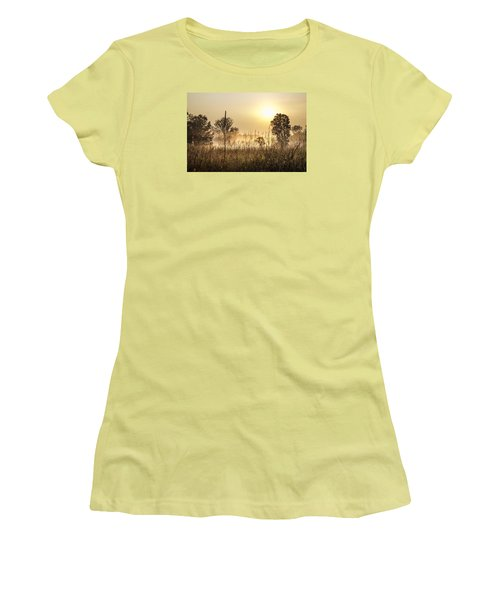 Southern Michigan Foggy Morning  Women's T-Shirt (Junior Cut) by John McGraw