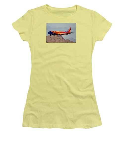 Southwest Boeing 737-3h4 N383sw Arizona Phoenix Sky Harbor December 20 2015  Women's T-Shirt (Junior Cut) by Brian Lockett
