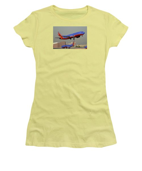 Southwest Boeing 737-3h4 N392sw Phoenix Sky Harbor December 2 2015 Women's T-Shirt (Junior Cut) by Brian Lockett