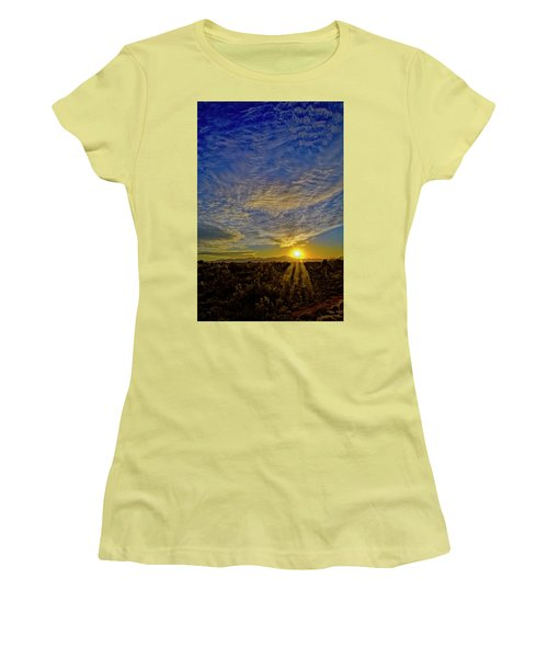 Women's T-Shirt (Athletic Fit) featuring the digital art Southwest Sunset Op40 by Mark Myhaver
