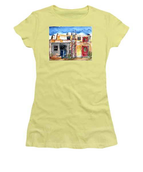 Women's T-Shirt (Junior Cut) featuring the painting Southwestern Home by Terry Banderas