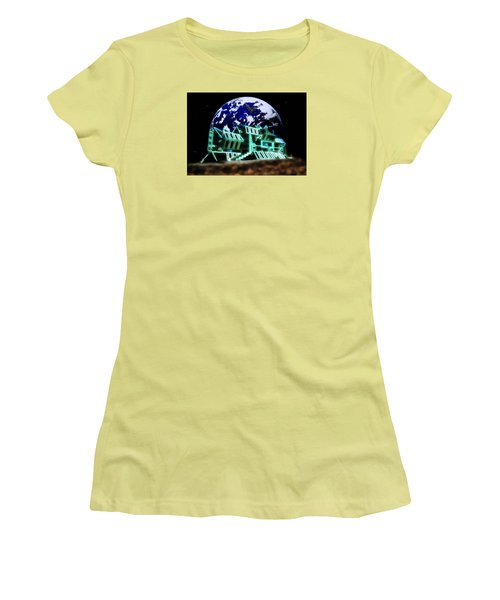 Women's T-Shirt (Junior Cut) featuring the painting Space Station Omega by Mario Carini