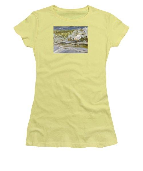 Sparking Snowy Egret Women's T-Shirt (Junior Cut) by Phyllis Beiser