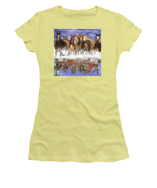 Women's T-Shirt (Athletic Fit) featuring the painting Splashing Around by Jamie Frier