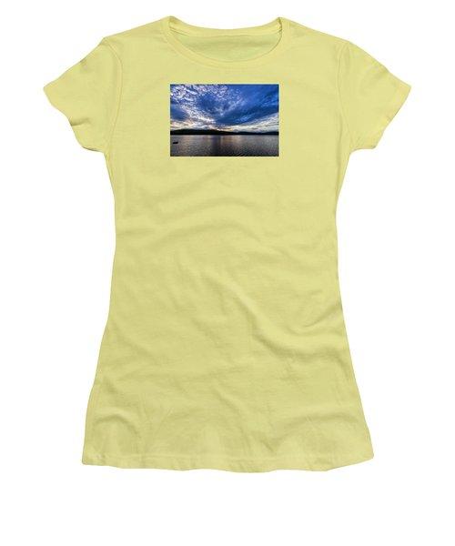 Women's T-Shirt (Junior Cut) featuring the photograph Spofford Lake Sunrise by Tom Singleton