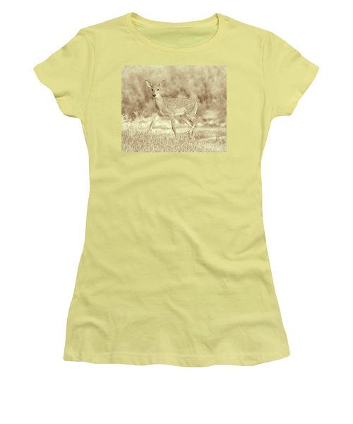 Spotted Fawn Women's T-Shirt (Junior Cut) by Jim Lepard