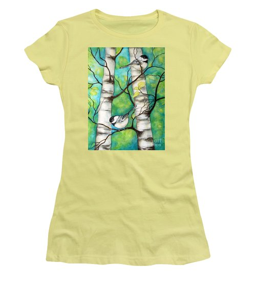 Women's T-Shirt (Junior Cut) featuring the painting Spring Chickadees by Inese Poga
