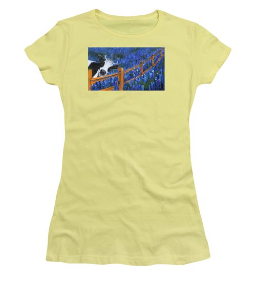 Women's T-Shirt (Athletic Fit) featuring the painting Spring Has Sprung by Jamie Frier