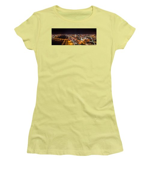 Women's T-Shirt (Junior Cut) featuring the photograph Springfield Massachusetts Night Long Exposure Panorama by Petr Hejl