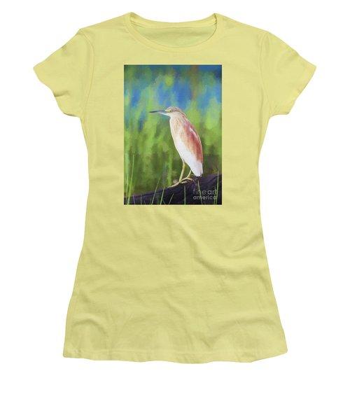 Squacco Heron Ardeola Ralloides Women's T-Shirt (Junior Cut) by Liz Leyden