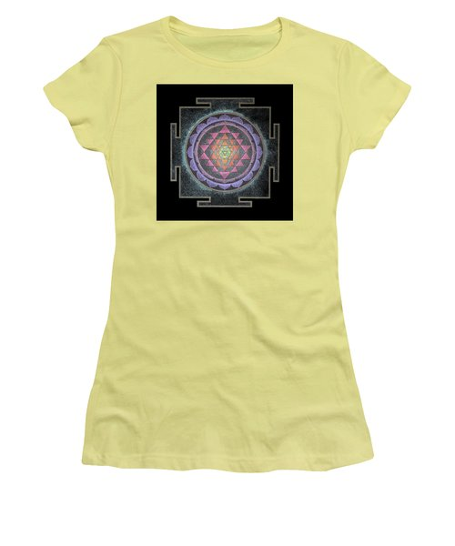 Women's T-Shirt (Athletic Fit) featuring the painting Sri Yantra by Keiko Katsuta