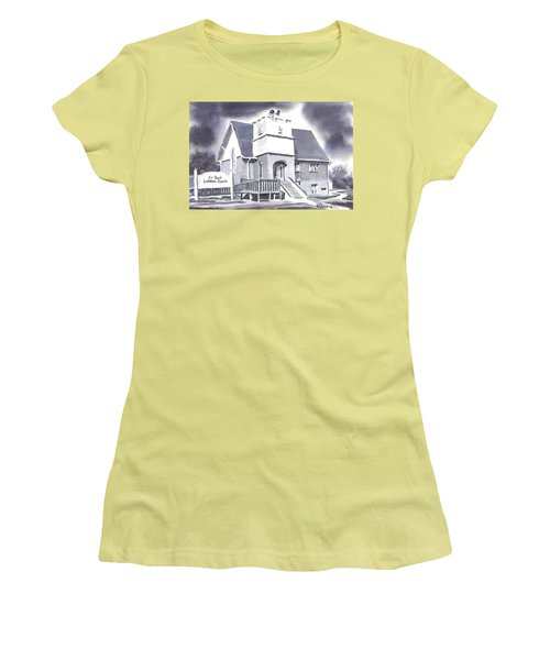 Women's T-Shirt (Junior Cut) featuring the painting St Paul Lutheran With Ink by Kip DeVore