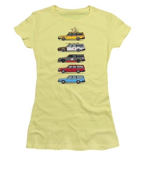 Stack Of Volvo 200 Series 245 Wagons Women's T-Shirt (Junior Cut) by Monkey Crisis On Mars