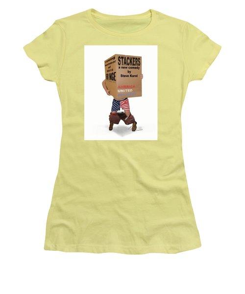 Stackers Poster Women's T-Shirt (Junior Cut) by Steve Karol