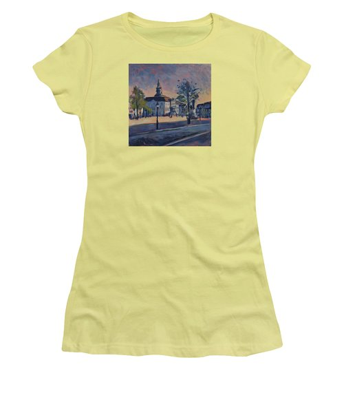 Women's T-Shirt (Junior Cut) featuring the painting Stadhuis Maastricht by Nop Briex