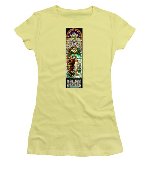 Women's T-Shirt (Junior Cut) featuring the photograph Stained Glass Scene 2 Crop by Adam Jewell