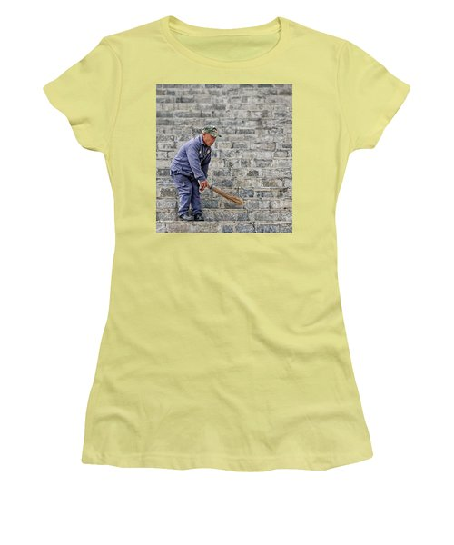 Stair Sweeper In Bhutan Women's T-Shirt (Athletic Fit)