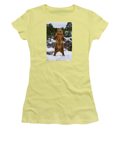Standing Grizzly Bear Women's T-Shirt (Athletic Fit)