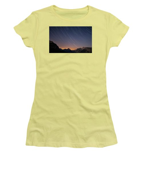 Star Trails Over The Apuan Alps Women's T-Shirt (Athletic Fit)