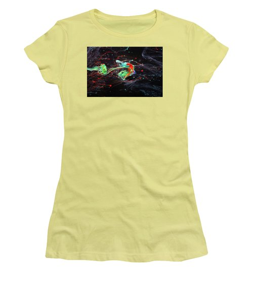 Starborn - Colorful Abstract Art Photography - Paint Pouring Women's T-Shirt (Athletic Fit)