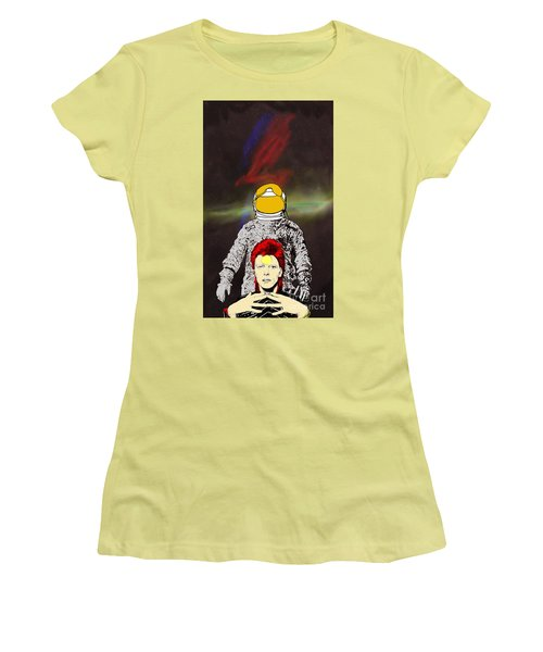 Women's T-Shirt (Junior Cut) featuring the drawing Starman Bowie by Jason Tricktop Matthews