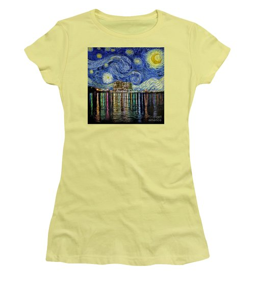 Starry Night In Destin Women's T-Shirt (Junior Cut) by Walt Foegelle