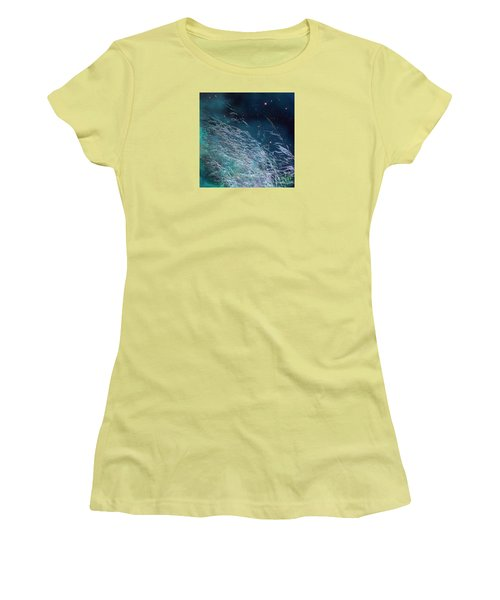 Women's T-Shirt (Athletic Fit) featuring the photograph Starry Sky Grass by Yulia Kazansky