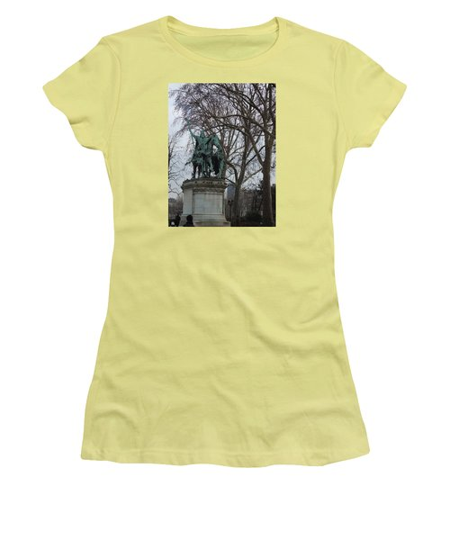 Statue At Notre Dame Women's T-Shirt (Junior Cut) by Roxy Rich