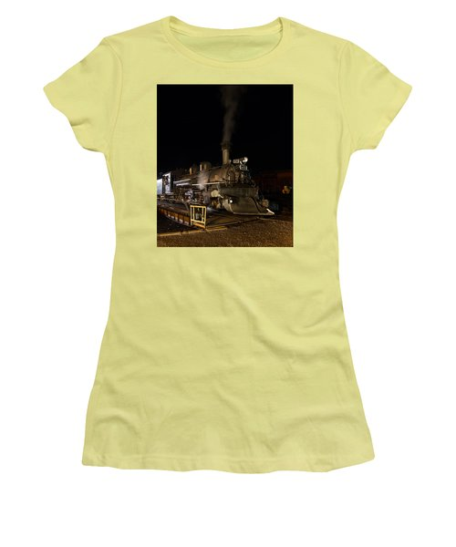 Locomotive And Coal Tender On A Turntable Of The Durango And Silverton Narrow Gauge Railroad Women's T-Shirt (Junior Cut) by Carol M Highsmith