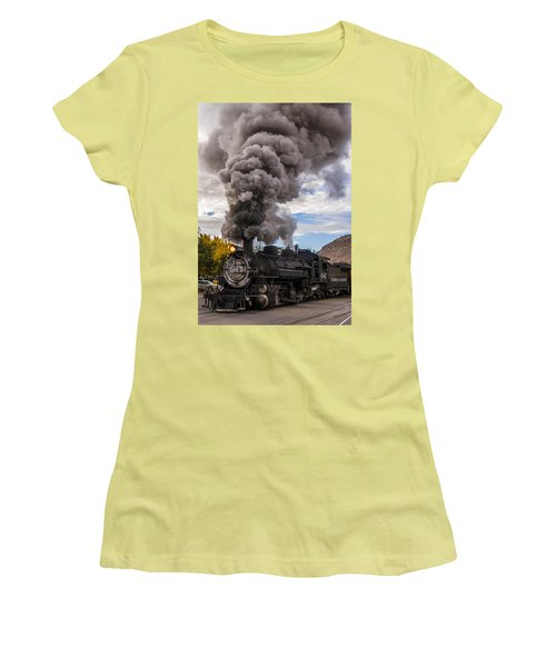 Women's T-Shirt (Junior Cut) featuring the photograph Steam Locomotive by Jerry Cahill