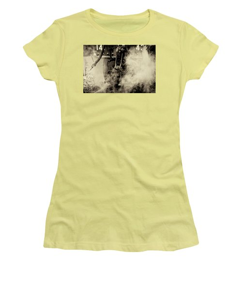Women's T-Shirt (Athletic Fit) featuring the photograph Steam Train Series No 4 by Clare Bambers