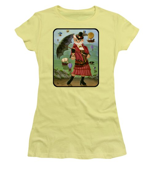 Steampunk Cat Gal - Victorian Cat Women's T-Shirt (Athletic Fit)