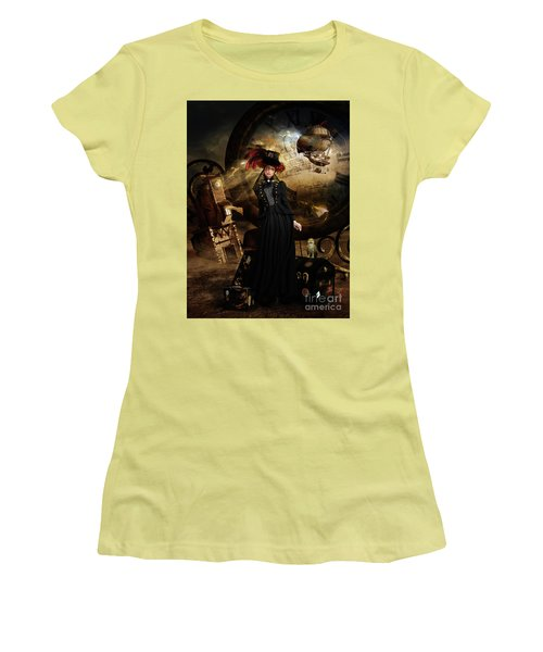 Steampunk Time Traveler Women's T-Shirt (Junior Cut) by Shanina Conway
