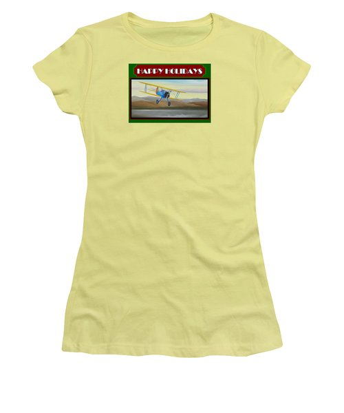 Women's T-Shirt (Junior Cut) featuring the painting Stearman Morning Flight Christmas Card by Stuart Swartz