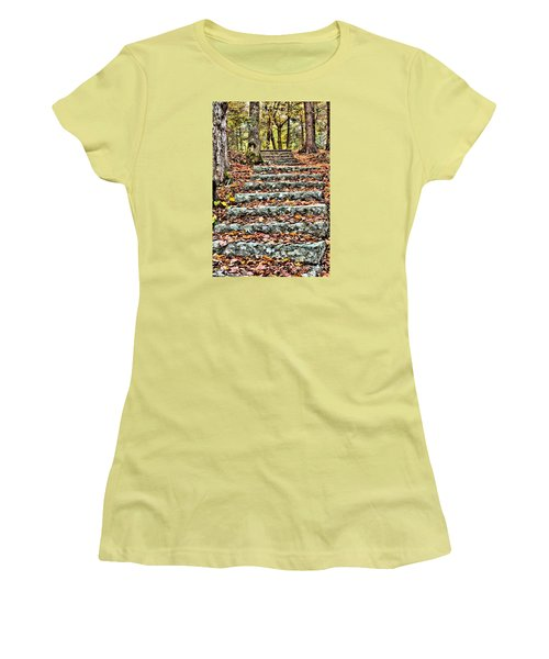 Women's T-Shirt (Junior Cut) featuring the photograph Step Into The Woods by Debbie Stahre