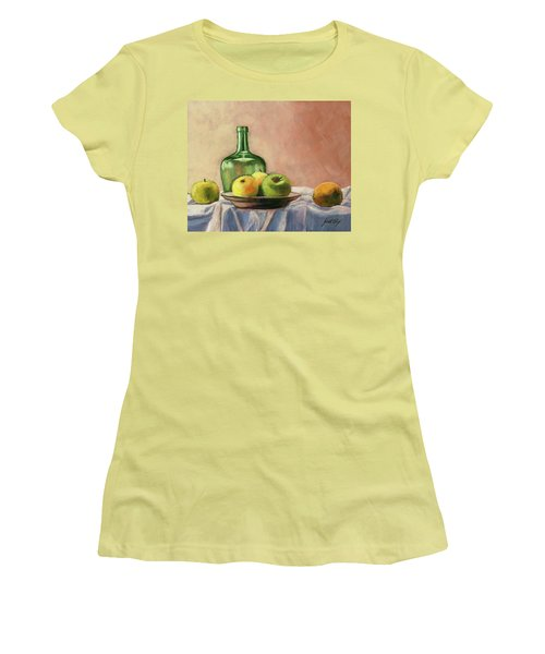 Women's T-Shirt (Junior Cut) featuring the painting Still Life With Bottle by Janet King