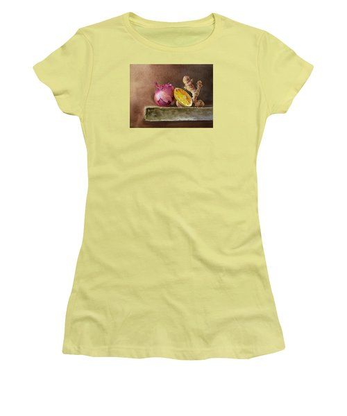 Still Life With Onion Lemon And Ginger Women's T-Shirt (Athletic Fit)